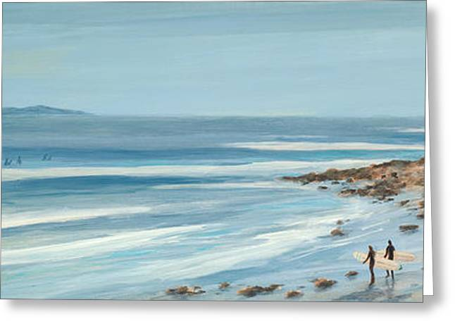 Surfers Point The Cove Greeting Card by Tina Obrien
