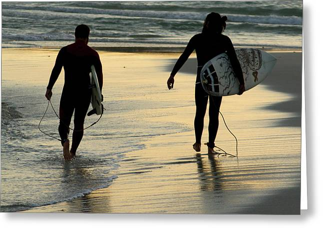 Surfers  Greeting Card by Stelios Kleanthous