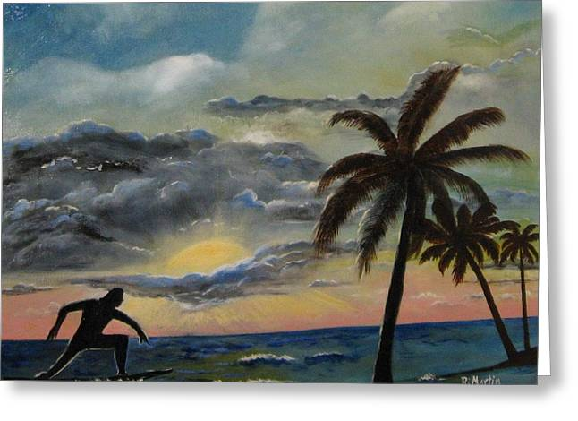 Surfers Sunset Greeting Card