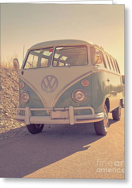 Surfer's Vintage Vw Samba Bus At The Beach 2016 Greeting Card by Edward Fielding