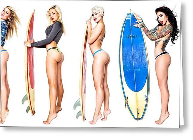 Surfin Girls Greeting Card by Robert Alvarado