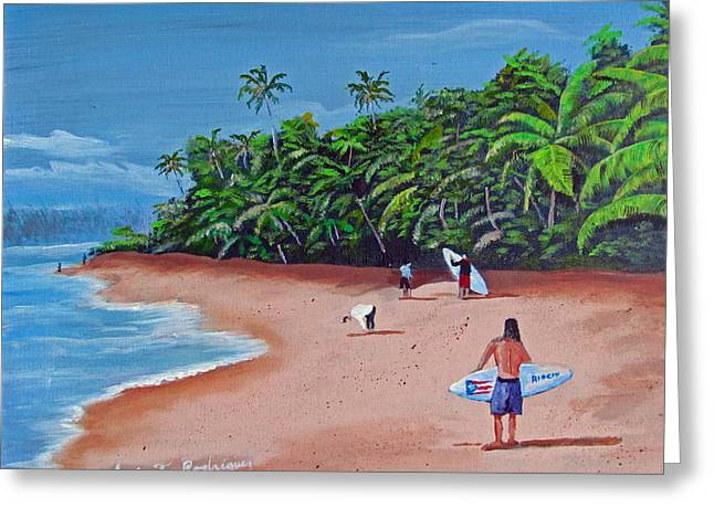 Surfing A La Rincon Greeting Card