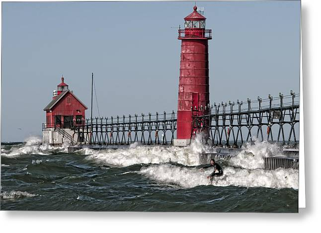 Surfing At Grand Haven Greeting Card by Wade Aiken