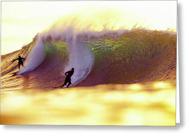 Gold Pipe Surfers Greeting Card by Sean Davey