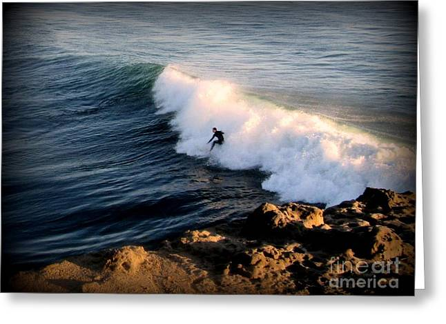 Surfing At Steamer Lane Santa Cruz Greeting Card by Joy Patzner