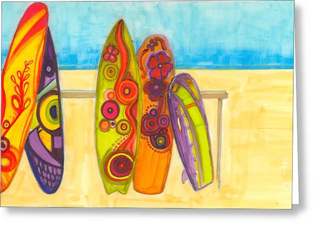 Surfing Buddies - Surf Boards At The Beach Illustration Greeting Card by Patricia Awapara