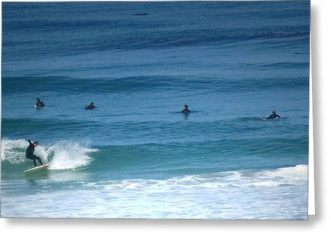 Surfing Carmel Beach Greeting Card by Joyce Dickens
