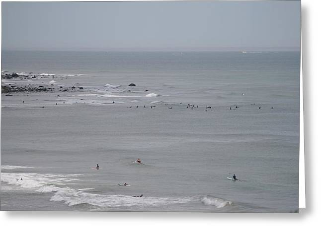 Surfing Ditch Plains Montauk Greeting Card by Christopher Kirby