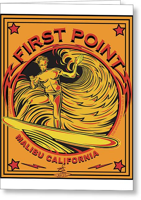 Surfing First Point Malibu California Greeting Card