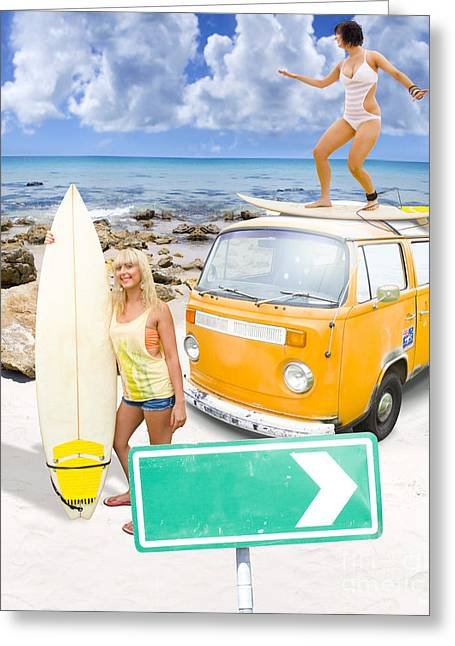 Surfing Holiday This Way Greeting Card