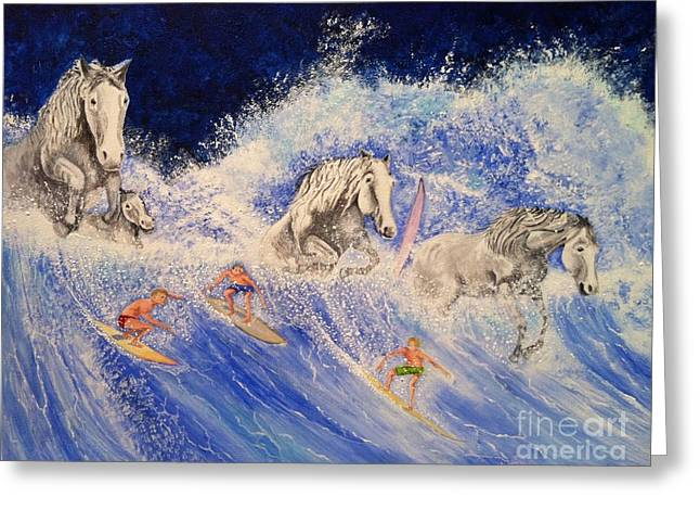Surfing Horses Greeting Card