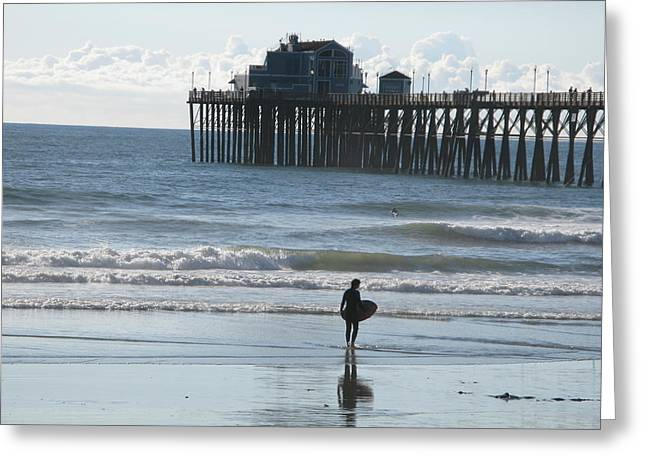 Surfing In San Clemente Greeting Card by John Loyd Rushing
