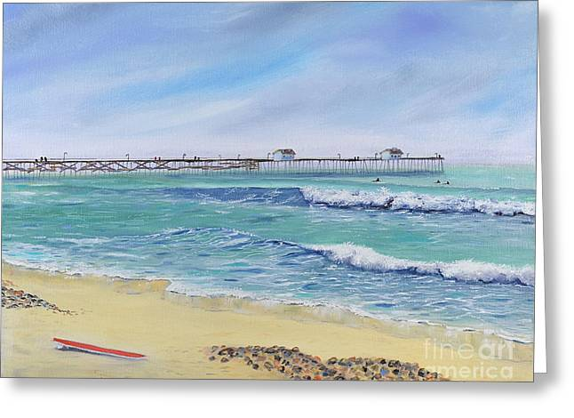 Greeting Card featuring the painting Surfing In San Clemente by Mary Scott