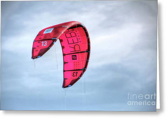 Surfing Kite Greeting Card by Adrian LaRoque