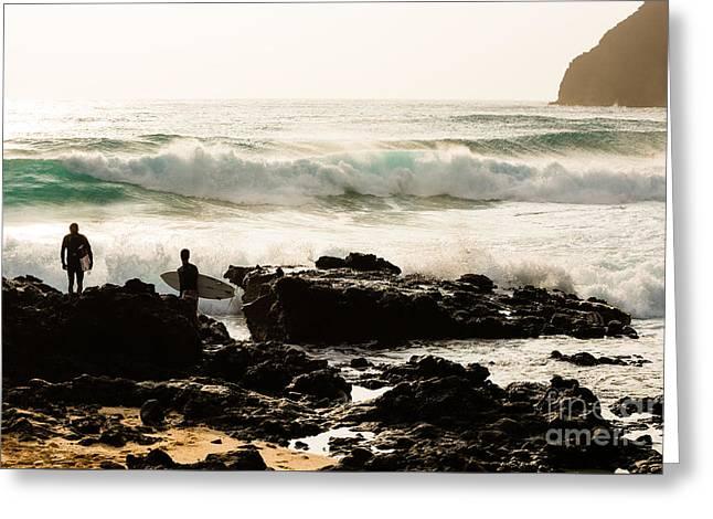 Surfing Makapu Beach  Greeting Card by MaryJane Armstrong
