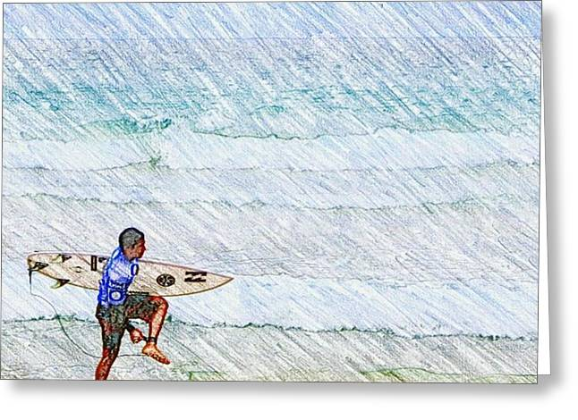 Surfer In Aus Greeting Card by Daisuke Kondo