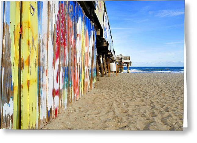 Surfing Off The Pier Greeting Card by David Lee Thompson