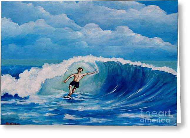 Surfing On The Waves Greeting Card