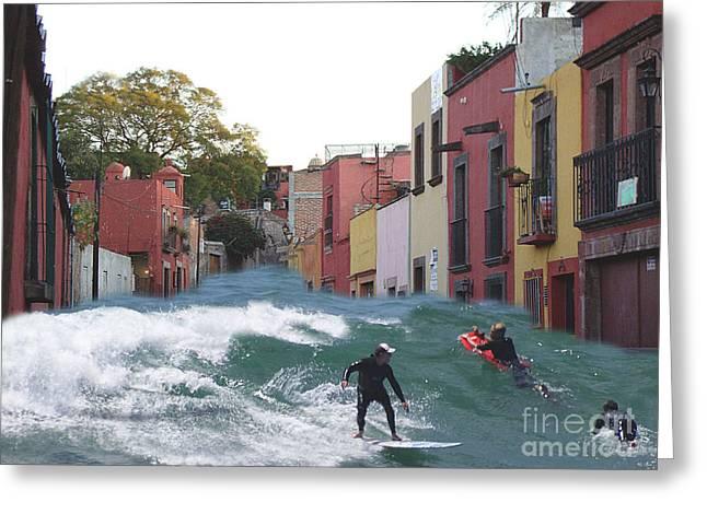 Greeting Card featuring the photograph Surfing Quebrada by John  Kolenberg