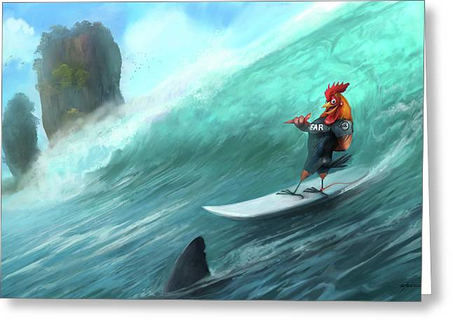 Surfing Rooster Greeting Card