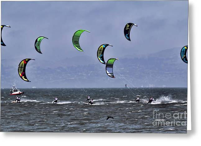 Surfing San Francisco Bay Kite  Greeting Card by Chuck Kuhn