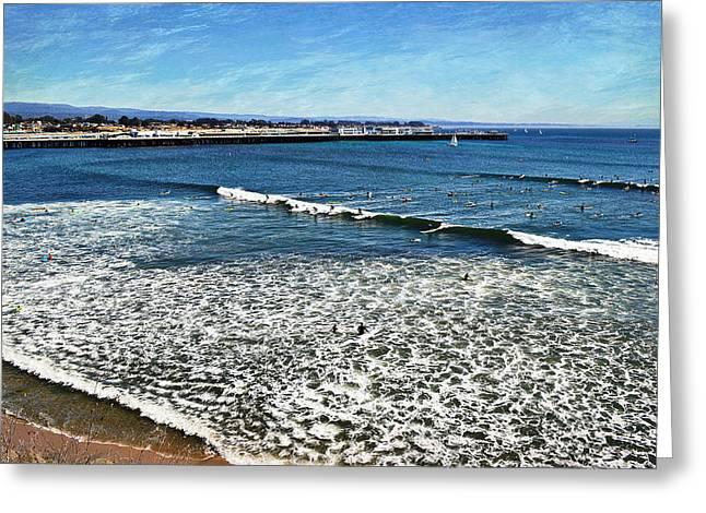 Surfing Santa Cruz Greeting Card by Glenn McCarthy Art and Photography