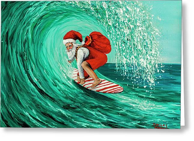 Surfing Santa Greeting Card by Darice Machel McGuire