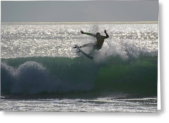 Surfing The Light Greeting Card by Thierry Bouriat