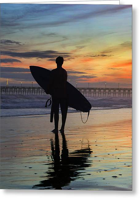 Surfing The Shadows Of Light Portrait Greeting Card by Betsy Knapp