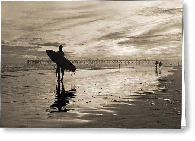 Surfing The Shadows Of Light Sepia Greeting Card by Betsy Knapp