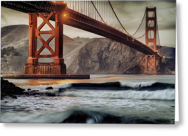 Surfing The Shadows Of The Golden Gate Bridge Greeting Card
