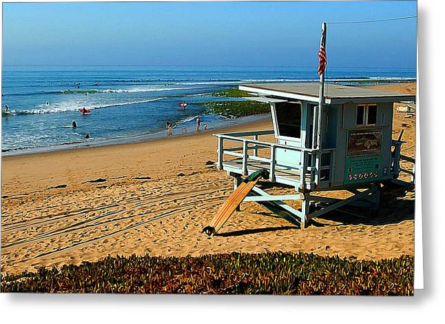 On The Beach Digital Greeting Cards - Surfrider 4th Greeting Card by Ron Regalado