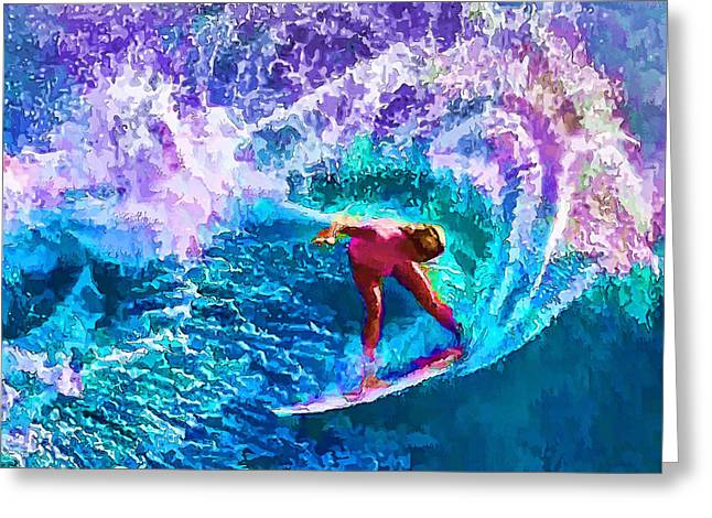 Surfs Like A Girl 1 Greeting Card by ABeautifulSky Photography