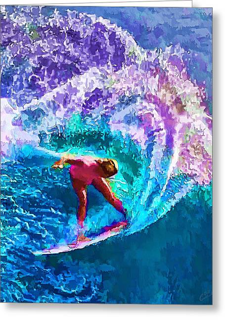 Surfs Like A Girl 2 Greeting Card by ABeautifulSky Photography