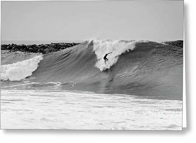 Greeting Card featuring the photograph Surf's Up Bw by Eddie Yerkish
