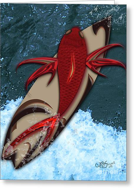 Surf's Up Greeting Card by Linda Seacord