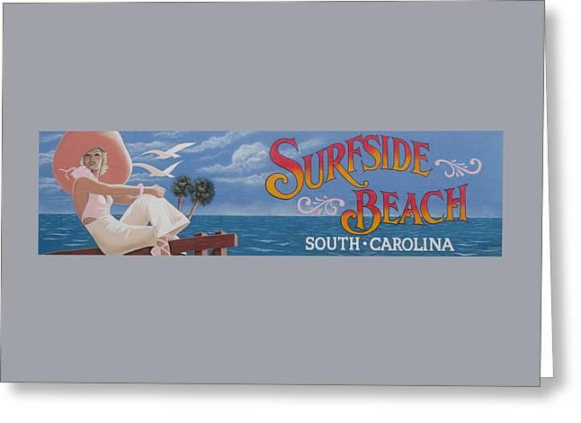 Surfside Beach Sign Greeting Card