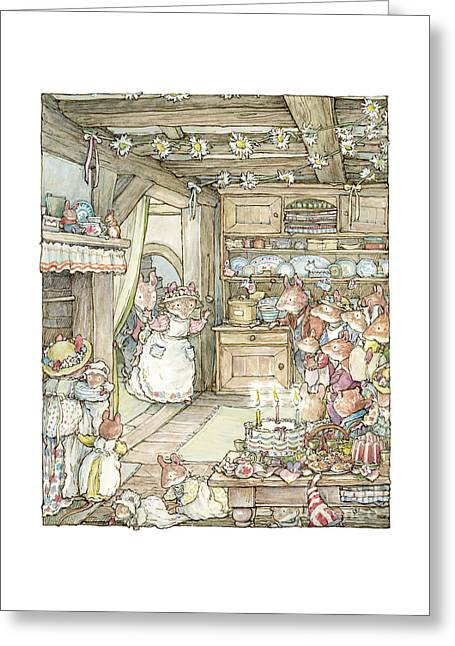Surprise At Mayblossom Cottage Greeting Card by Brambly Hedge