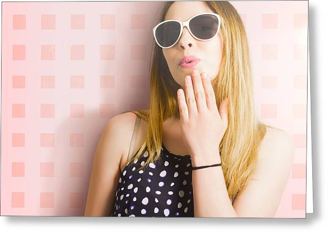 Surprise Beauty Girl On Pink Salon Wall Greeting Card by Jorgo Photography - Wall Art Gallery