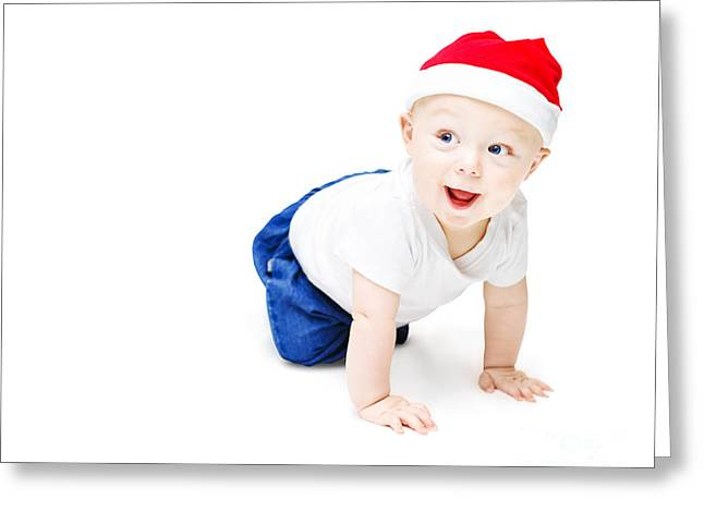 Surprise Christmas Baby Greeting Card by Jorgo Photography - Wall Art Gallery
