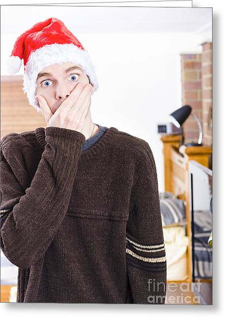 Surprise Christmas Man Greeting Card by Jorgo Photography - Wall Art Gallery