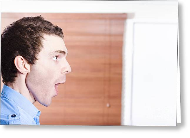 Surprised Advert Man Looking In Shock To Copyspace Greeting Card by Jorgo Photography - Wall Art Gallery