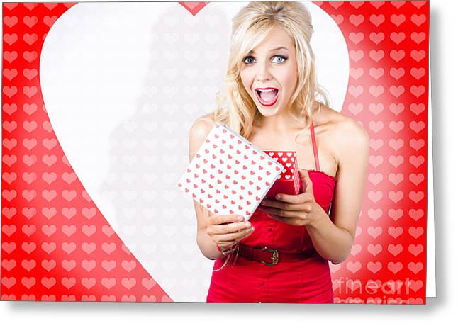Surprised Attractive Girl With Heart Gift Box Greeting Card