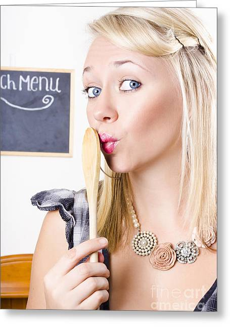 Surprised Female Kitchen Cook Hiding Secret Recipe Greeting Card by Jorgo Photography - Wall Art Gallery
