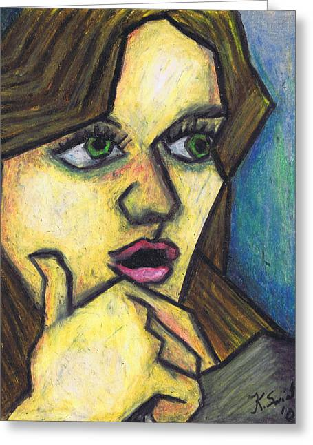 Surprised Girl Greeting Card by Kamil Swiatek