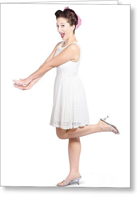 Surprised Housewife Kicking Up Leg In White Dress Greeting Card