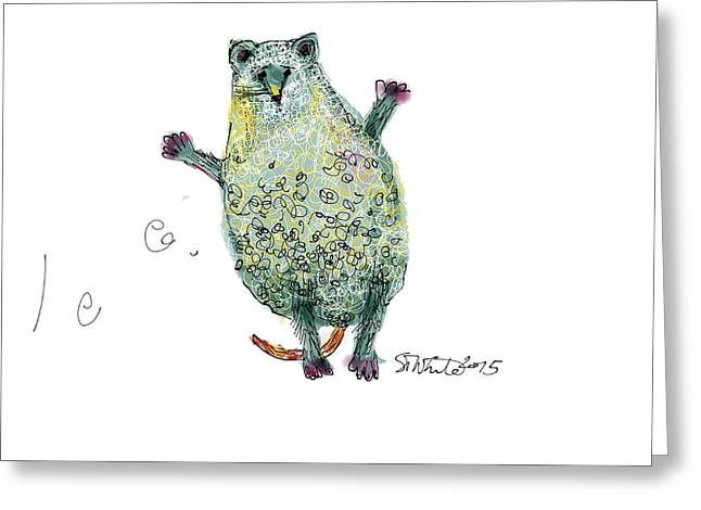Surprised Mouse With Curly Hair  Greeting Card