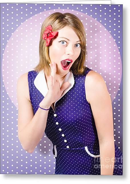 Surprised Pin-up Woman In Purple Polka Dot Dress Greeting Card