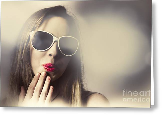Surprised Pinup Girl In Retro Fashion Makeup Greeting Card by Jorgo Photography - Wall Art Gallery