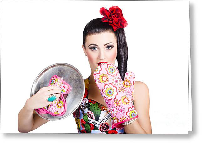 Surprised Pinup Woman Cook Greeting Card by Jorgo Photography - Wall Art Gallery